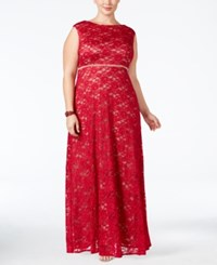 Alex Evenings Plus Size Lace Glitter A Line Gown Red