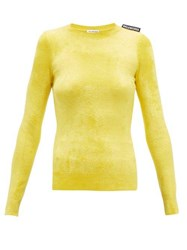Balenciaga Logo Tab Velvet Sweater Yellow