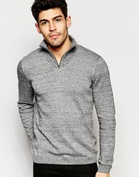 Asos Turtleneck Jumper With Zip In Black And White Twist Black And White Twist Grey