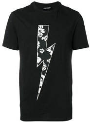 Neil Barrett Floral Bolt T Shirt Black