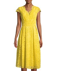 Chetta B Lace Cap Sleeve Fit And Flare Dress Medium Yellow