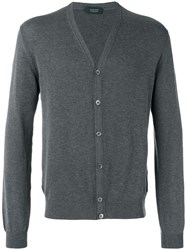 Zanone V Neck Cardigan Grey