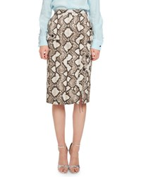 Altuzarra Curry Python Print Pencil Skirt Natural Beige