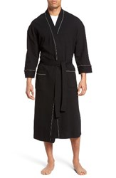 Majestic International Men's Big And Tall Waffle Knit Robe Black