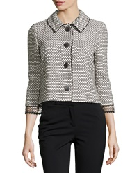 Oscar De La Renta Tweed 3 4 Sleeve Jacket White Black