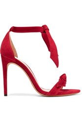 Alexandre Birman Clarita Bow Embellished Suede Sandals Red