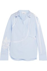3.1 Phillip Lim Embroidered Cutout Cotton Poplin Shirt Sky Blue
