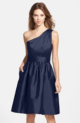 Women's Alfred Sung One Shoulder Satin Fit And Flare Dress Midnight