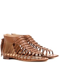 Polo Ralph Lauren Jadine Leather Gladiator Sandals Brown