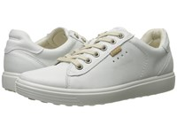 Ecco Soft Sneaker White Cow Leather Cow Nubuck Women's Lace Up Casual Shoes White Cow Leather Cow Nubuck