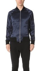 Apl Athletic Propulsion Labs Stretch Satin Bomber Jacket Navy