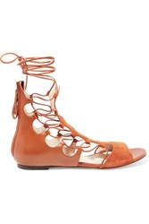 Etro Leather And Suede Lace Up Sandals Camel
