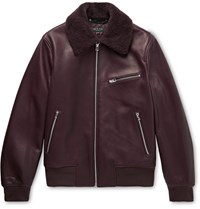 Rag And Bone Shearling Trimmed Leather Bomber Jacket Burgundy