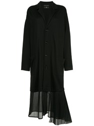 Y's Pleated Hem Coat Black