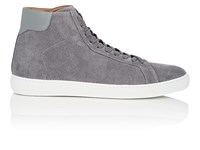 Barneys New York Leather Trimmed Suede Sneakers Gray