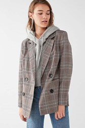 Urban Outfitters Uo Red Checkered Blazer Dark Grey