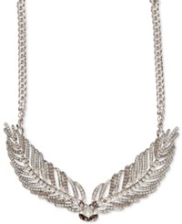 Givenchy Silver Tone Imitation Pearl And Crystal Feathery Wing Drama Necklace
