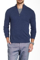 Qi Cashmere Funnel Neck Sweater Blue