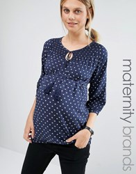 Mama Licious Mamalicious Printed Woven Top With Tassel Detail Navy Blue