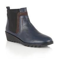 Lotus Zinnia Leather Ankle Boots Navy