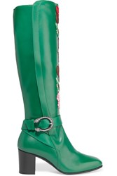 Gucci Embroidered Leather Knee Boots Emerald