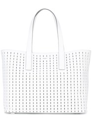 Dkny Embroidered Tote Women Leather One Size White