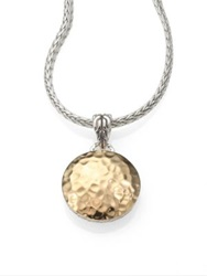 John Hardy 18K Yellow Gold And Sterling Silver Hammered Disc Necklace Gold Silver