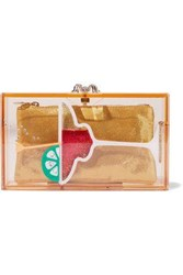 Charlotte Olympia Pandora Cocktail Embellished Perspex Box Clutch Yellow