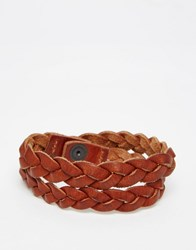 Jack And Jones Jack And Jones Leather Braided Bracelet Brown