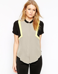 Y.A.S Color Block Collarless Short Sleeve Shirt Elephantskin