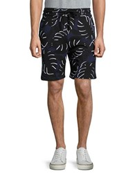 Markus Lupfer Abstract Palm Print Shorts Navy Black White