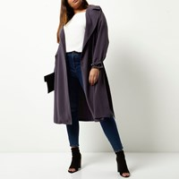 River Island Womens Plus Grey Duster Trench Coat