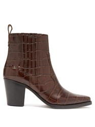 Ganni Callie Western Crocodile Effect Leather Boots Dark Brown