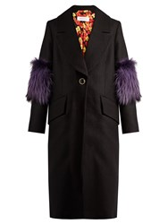 Saks Potts System Fur Panel Wool Coat Black Multi