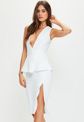 Missguided White Crepe Peplum Midi Dress