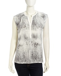 Rebecca Taylor Sleeveless Animal Print Silk Blouse Steel Combo
