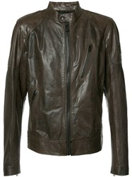 Belstaff Banded Collar Leather Jacket Brown