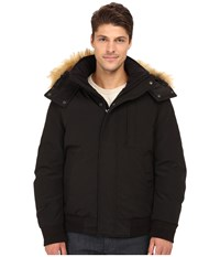 Marc New York Bristol Down Filled Oxford Twill Bomber W Faux Fur Trimmed Removable Hood Black Men's Coat