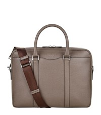 Boss Grained Leather Briefcase Unisex Light Grey