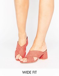 Lost Ink Wide Fit Cross Strap Mid Heeled Mules Coral Pink