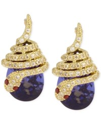 Betsey Johnson Gold Tone Pave Snake Blue Stone Drop Earrings