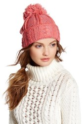 Cara Accessories Pompom Knit Sweater Beanie Pink