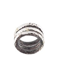 Henson Hammered Ring Set Metallic