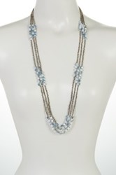 Spring Street Triple Strand Glitzy Glass Beaded Necklace Blue
