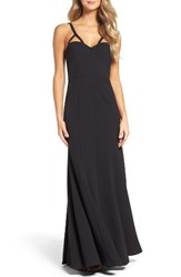 Vera Wang Women's Strappy V Neck Gown