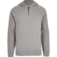 River Island Selected Homme Grey Zip Up Hoodie