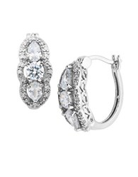 Lord And Taylor Sterling Silver Hoop Earrings With Cubic Zirconia Pendants