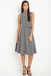 Forever 21 Contemporary Micro Grid Pleated A Line Skirt Black Cream