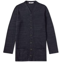 Inis Meain High V Long Jacket Blue