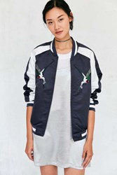 Silence And Noise Birds Of Paradise Embroidered Bomber Jacket Navy